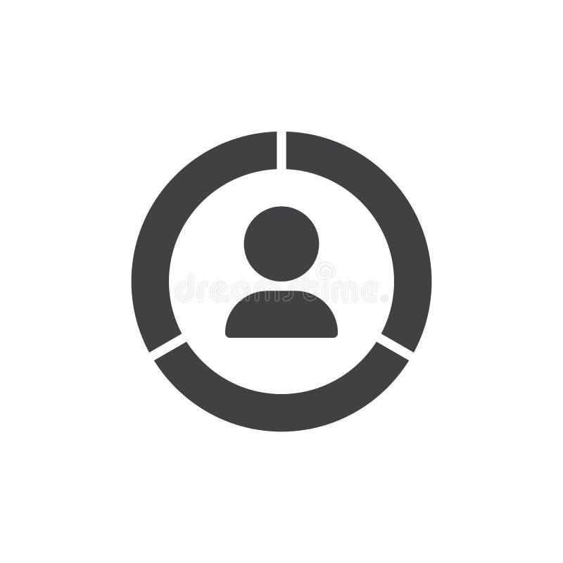 Homme avec l'icône de vecteur de diagramme de cercle illustration libre de droits
