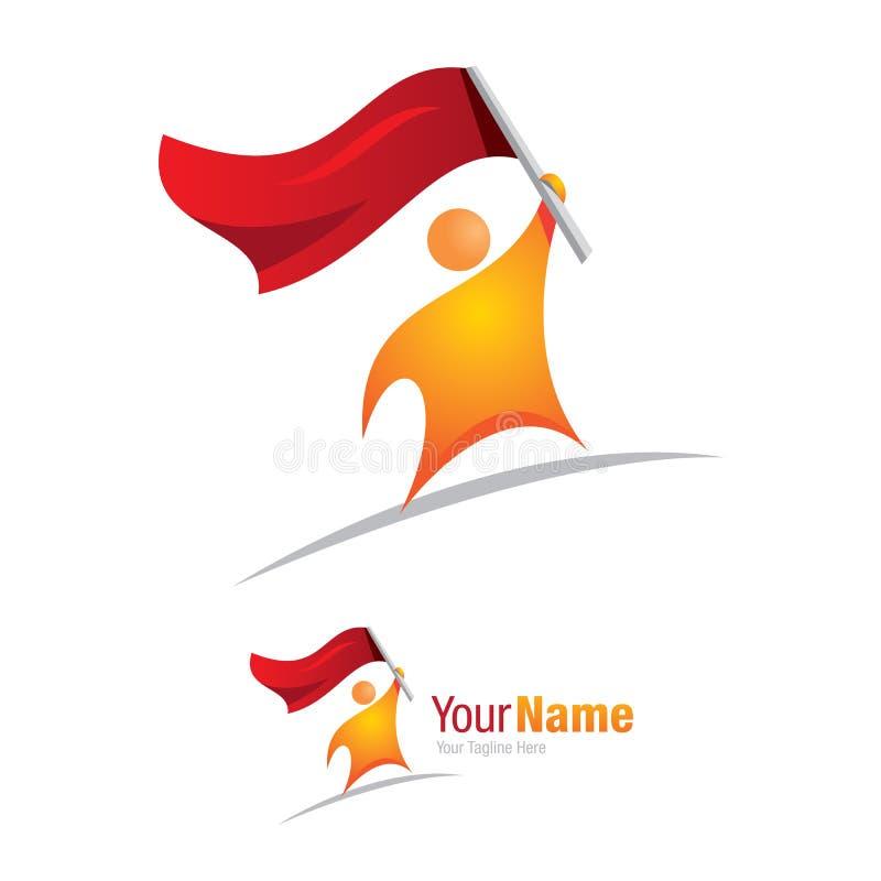 Homme avec l'icône de logo de conception graphique de conquérant de drapeau illustration libre de droits