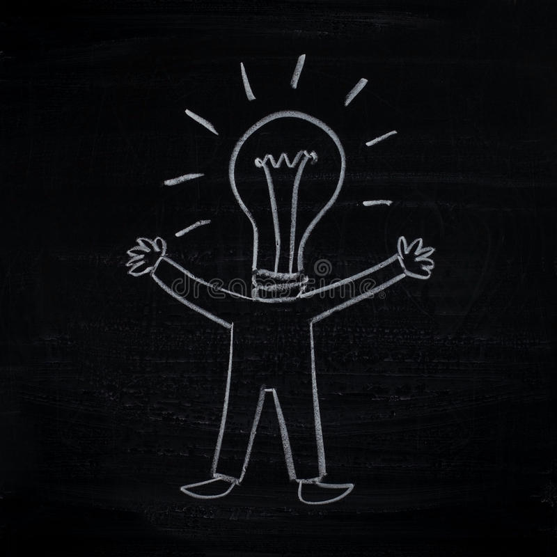 Homme avec l'idée créatrice (homme-ampoule) illustration libre de droits