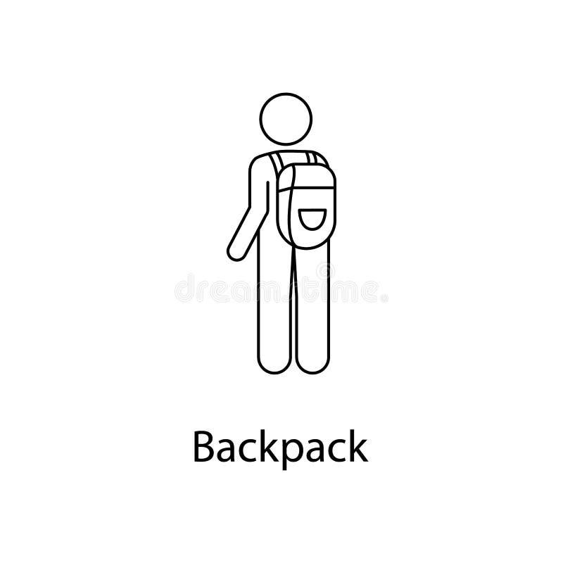 homme avec l'illustration de sac à dos L'élément d'une personne porte pour les apps mobiles de concept et de Web Ligne homme minc illustration stock