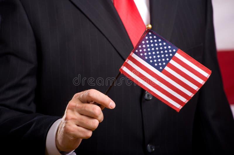 Homme avec l'indicateur américain photo libre de droits