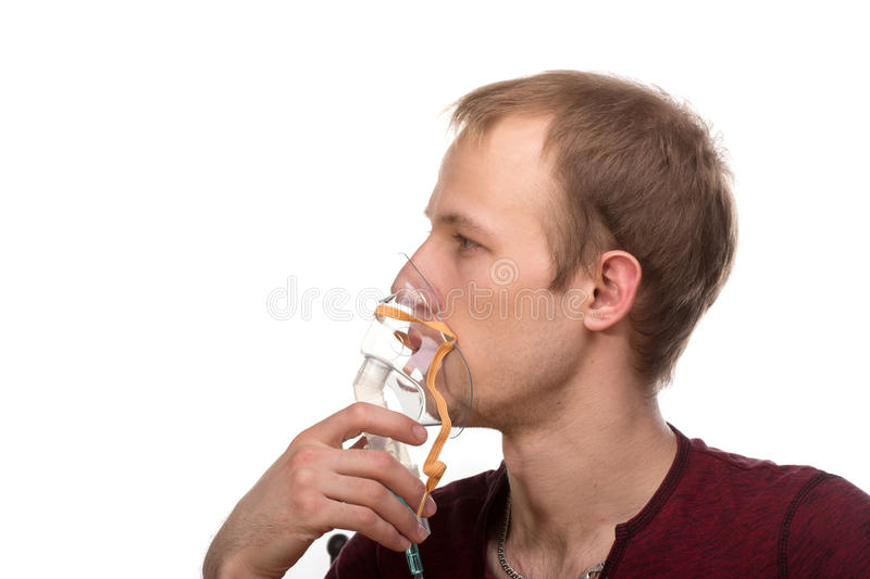 Homme avec l'inhalateur photos stock