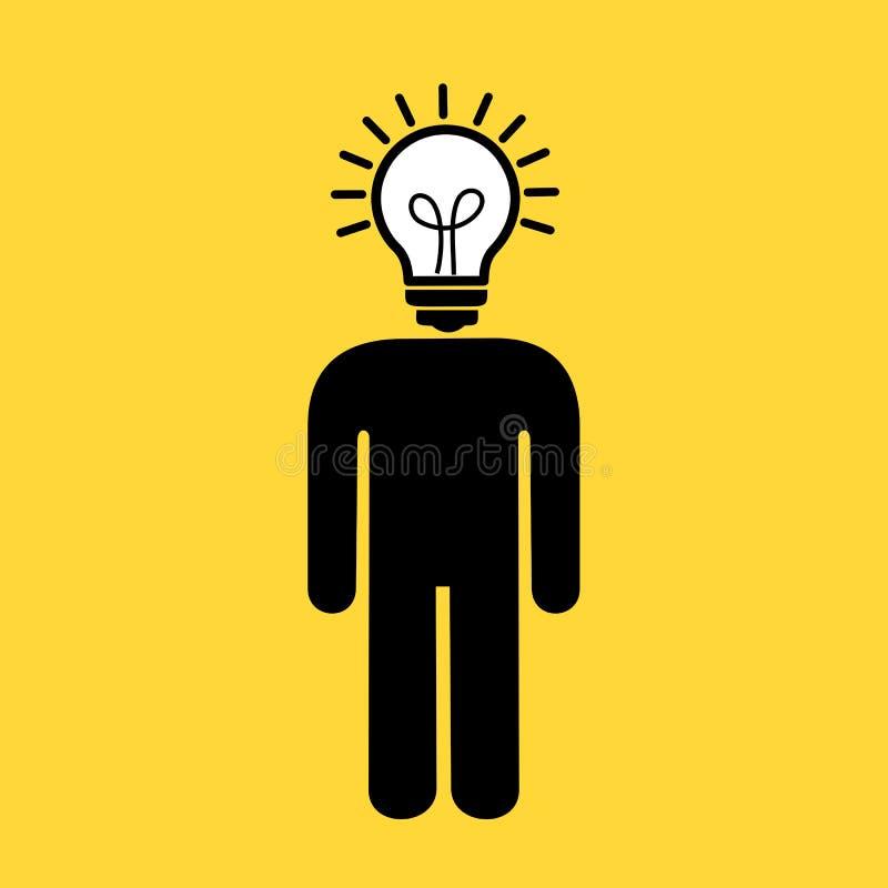 Homme avec l'insteadn d'ampoule et d'ampoule de la tête Personne créative et innovatrice avec des idées, l'inspiration, l'imagina illustration de vecteur