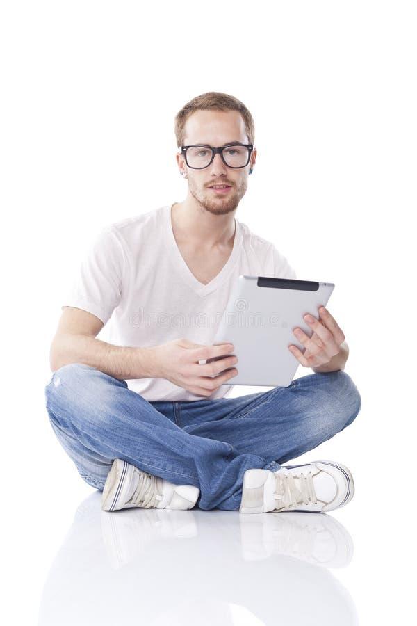 Homme avec l'ordinateur de tablette photos stock