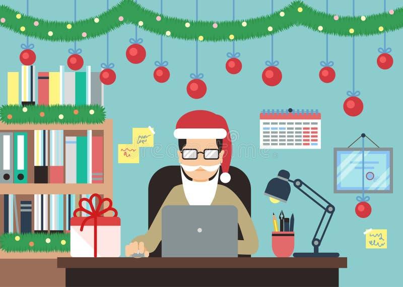 Homme avec l'ordinateur portable dans des décorations de Noël illustration stock