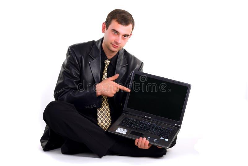 Homme avec l'ordinateur portatif photos stock