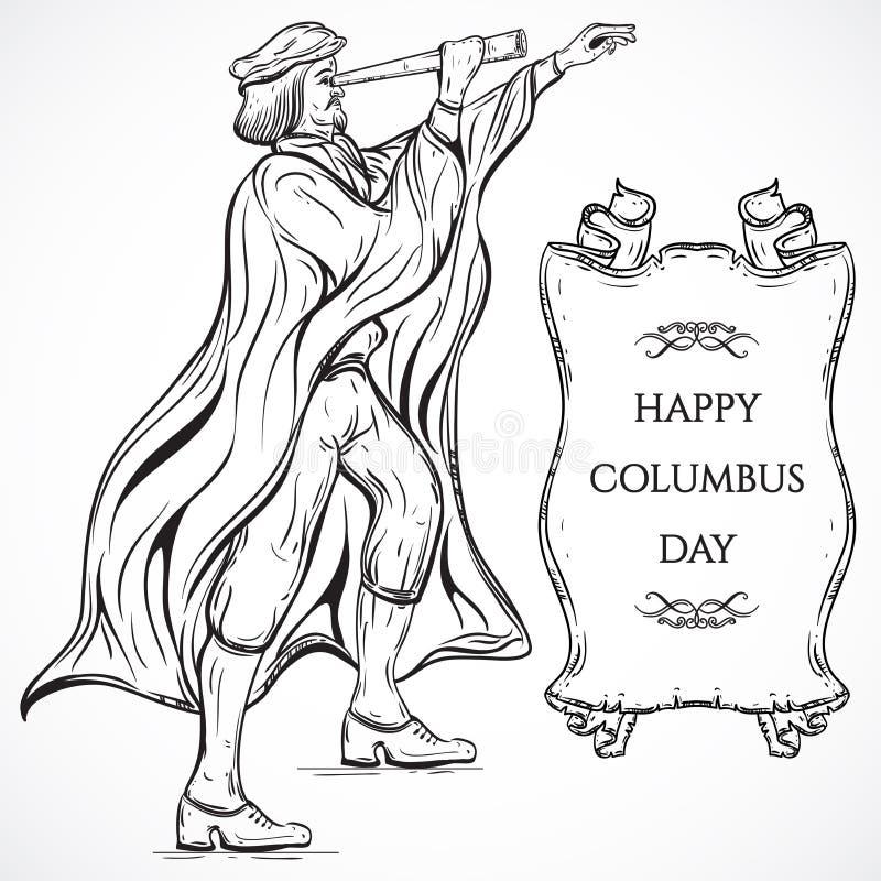 Homme avec la bannière de télescope et de ruban Affiche Columbus Day de vintage Illustration tirée par la main de vecteur illustration de vecteur
