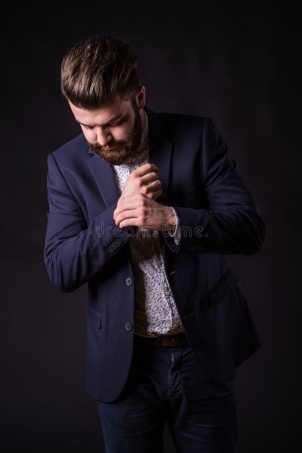 Homme avec la barbe, portrait de couleur image stock