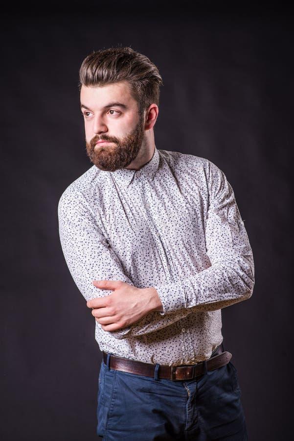Homme avec la barbe, portrait de couleur images stock
