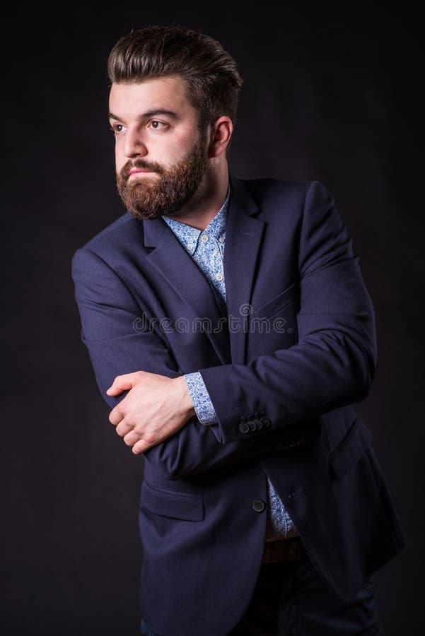 Homme avec la barbe, portrait de couleur photos libres de droits