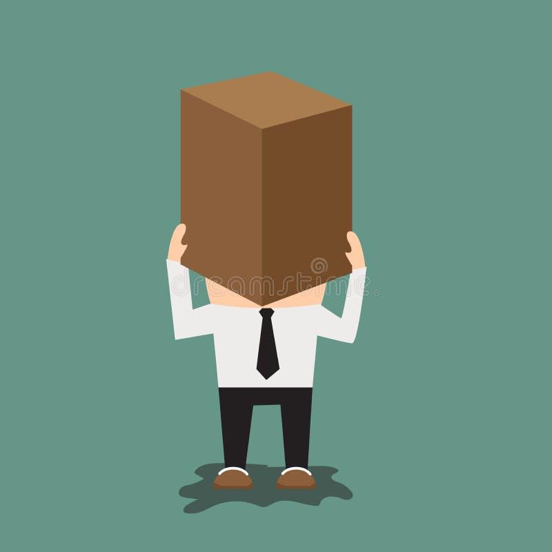 Homme avec la boîte en carton sur sa tête illustration de vecteur