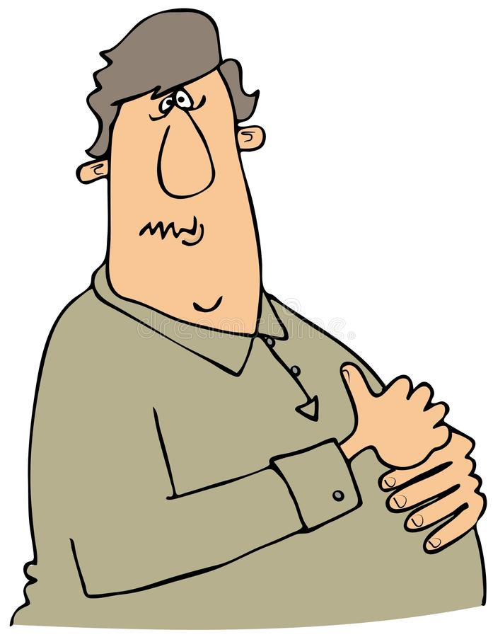 Homme avec la brûlure d'estomac illustration stock