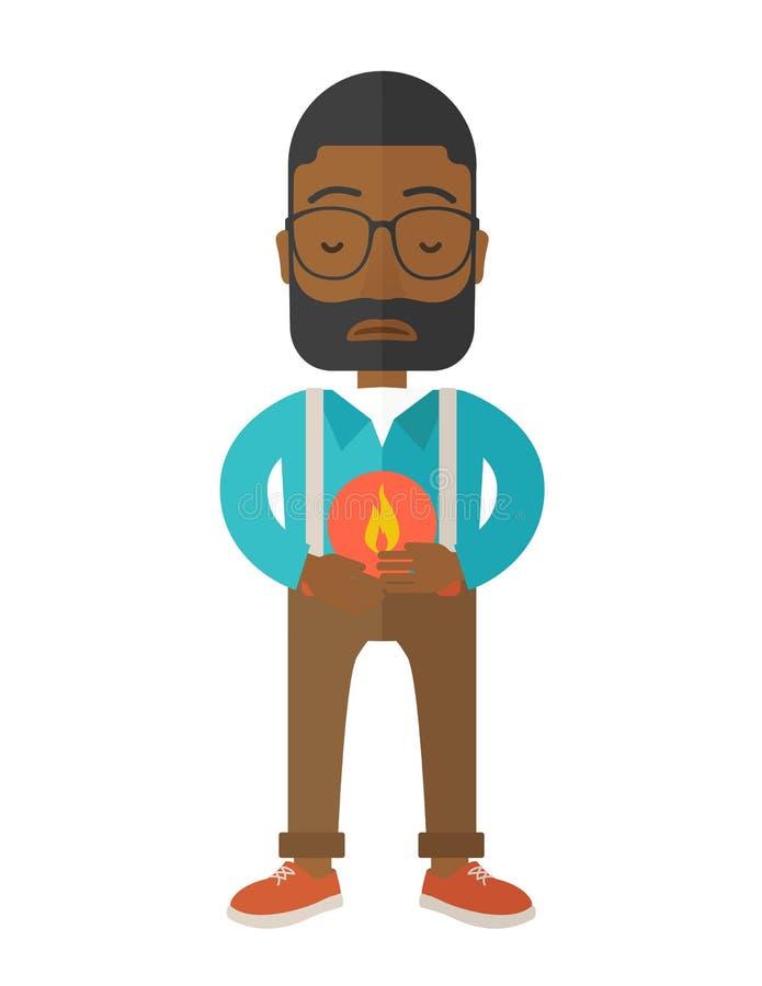 Homme avec la brûlure d'estomac illustration de vecteur