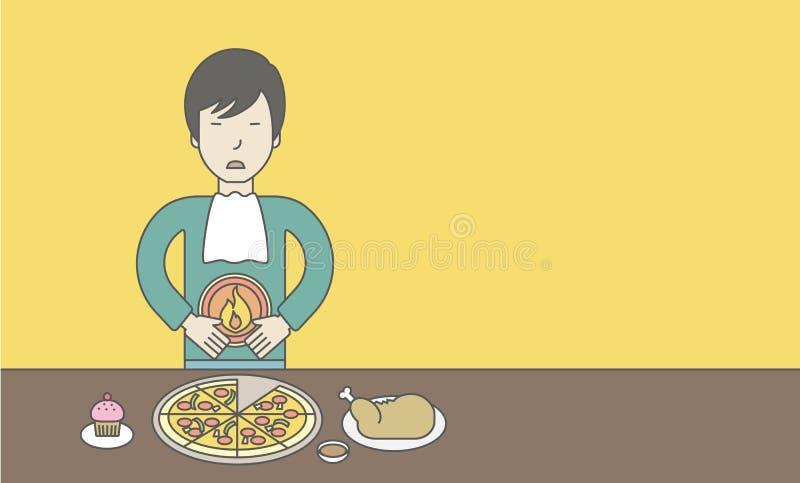 Homme avec la brûlure d'estomac illustration libre de droits