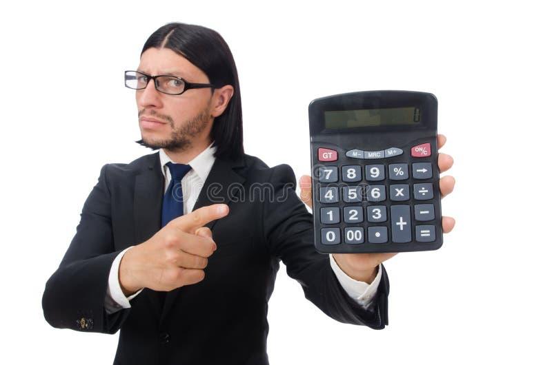 Homme avec la calculatrice d'isolement sur le blanc photographie stock libre de droits