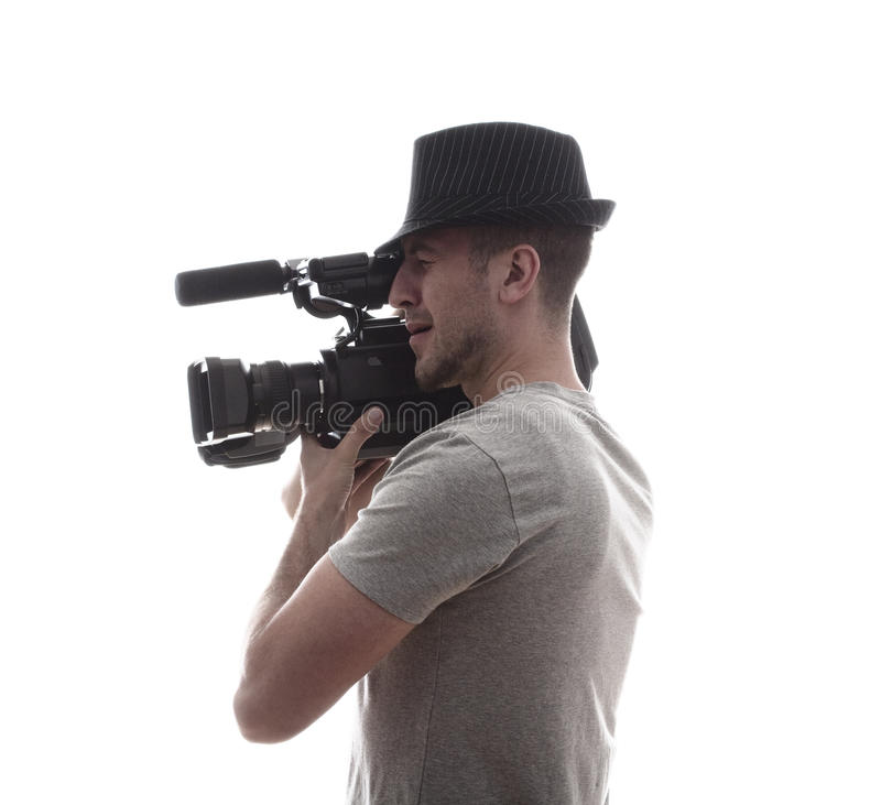 Homme avec la caméra vidéo image libre de droits