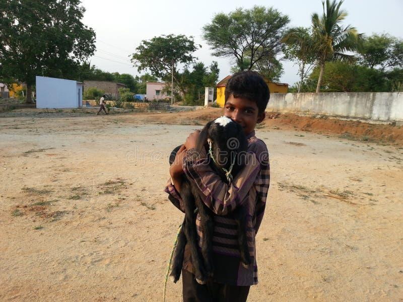 Homme avec la chèvre photographie stock