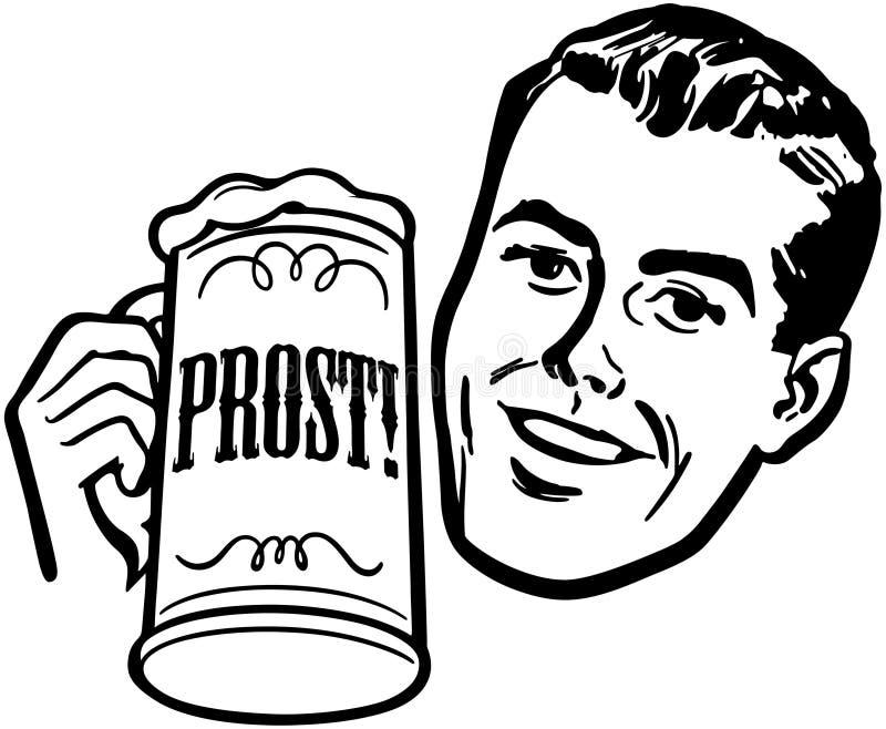 Homme avec la chope en grès de bière illustration de vecteur