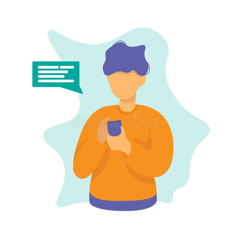 Homme avec la conception de l'avant-projet de causerie de téléphone illustration libre de droits