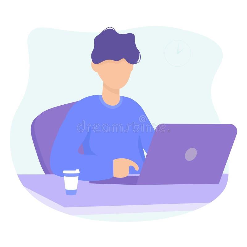 Homme avec la conception de l'avant-projet d'ordinateur portable et de coffe illustration stock