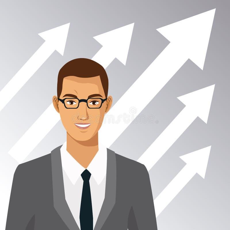 Homme avec la croissance de flèche d'affaires de costume en verre illustration stock