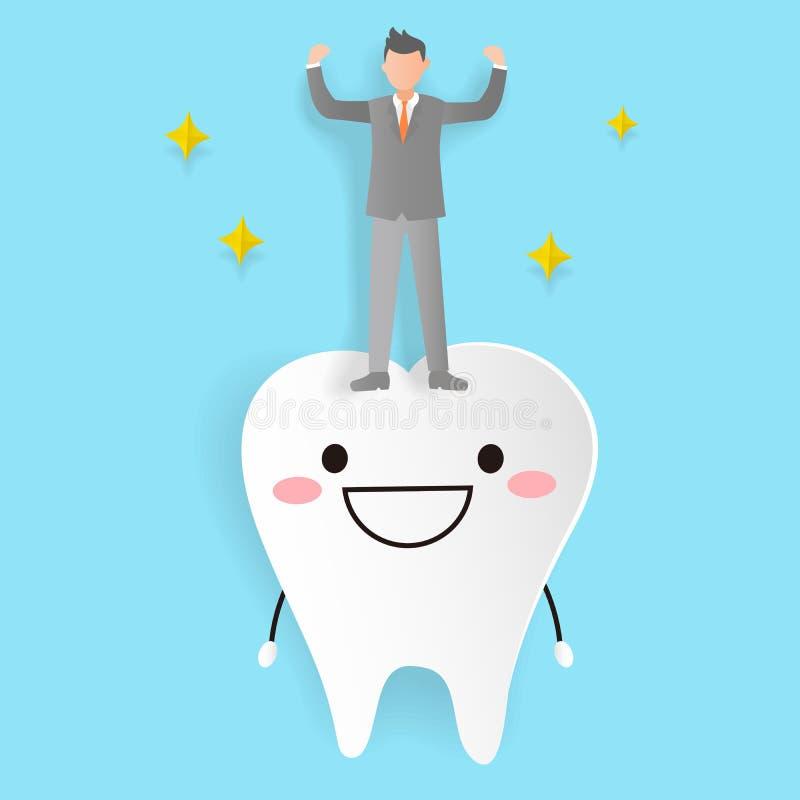 Homme avec la dent de santé illustration stock