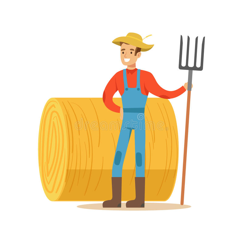 Homme avec la fourchette se tenant à côté de Hay Stack, ferme de Working At The d'agriculteur et se vendant sur le marché de prod illustration stock