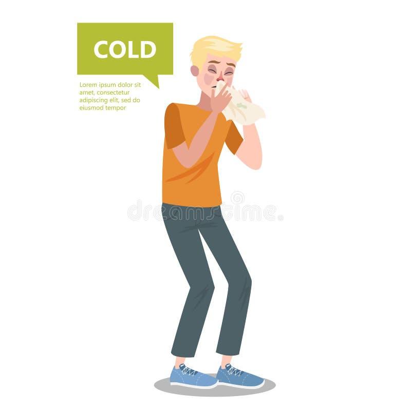 Homme avec la grippe ou l'éternuement froid Symptôme commun illustration stock