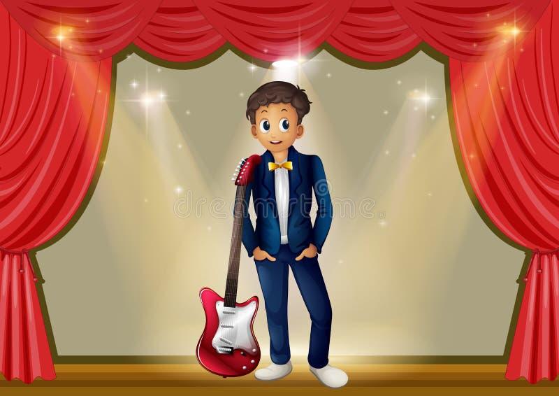 Homme avec la guitare sur l'étape illustration de vecteur