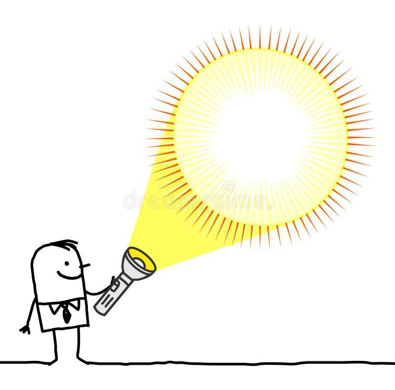 Homme avec la lampe-torche blanc illustration de vecteur