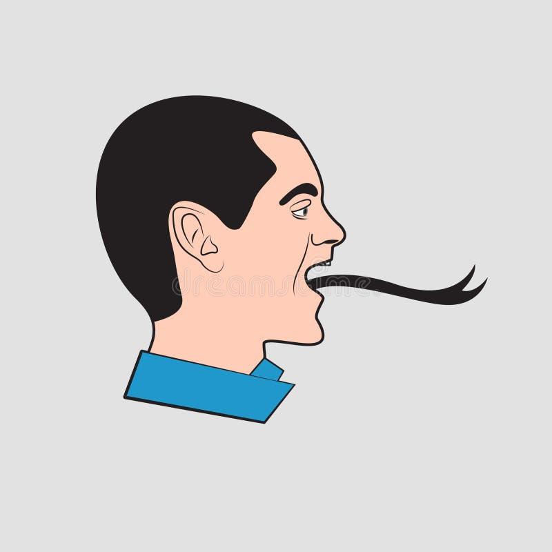 Homme avec la langue de serpent illustration stock