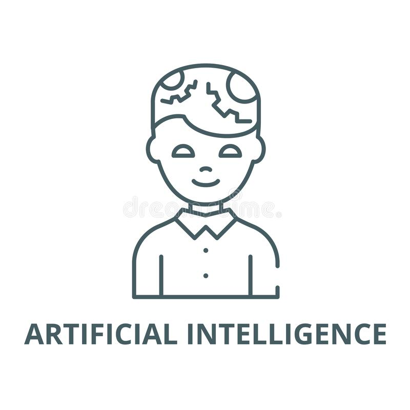 Homme avec la ligne ic?ne, concept lin?aire, signe d'ensemble, symbole de vecteur d'intelligence artificielle illustration stock