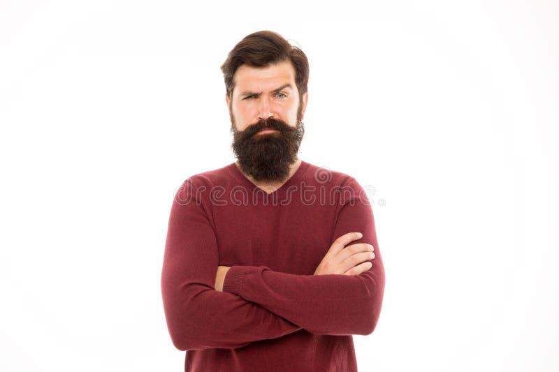 Homme avec la longue barbe et le fond blanc d'isolement par moustache Pour élever la barbe impressionnante, tout simplement loin  photo stock
