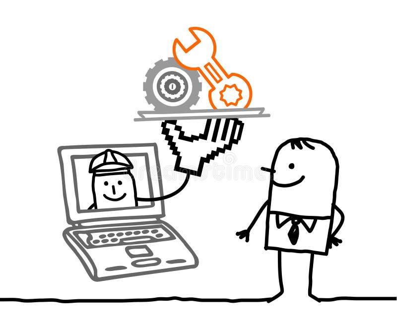 Homme avec la maintenance en ligne illustration de vecteur