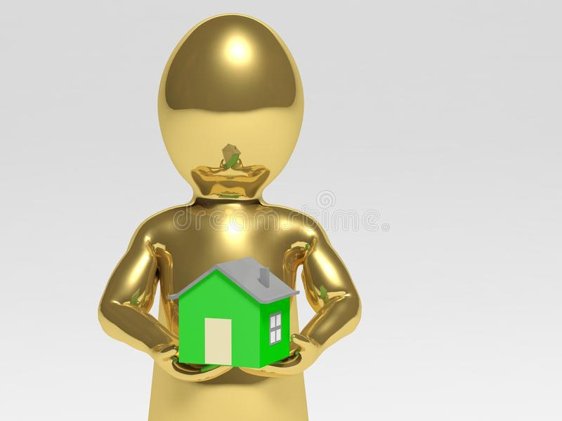 Homme avec la maison illustration de vecteur