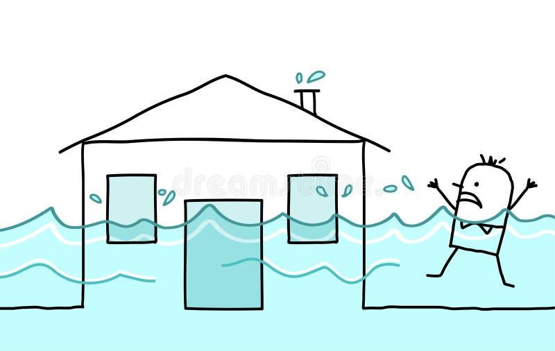 Homme avec la maison et l'inondation