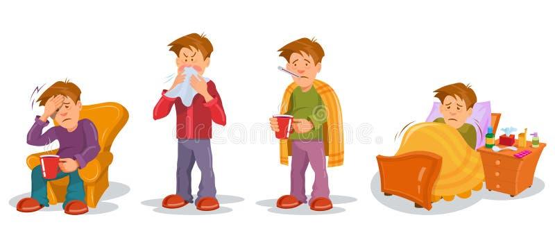 Homme avec la maladie de grippe dans différentes poses Ensemble en difficulté de caractères de personnes r r illustration stock