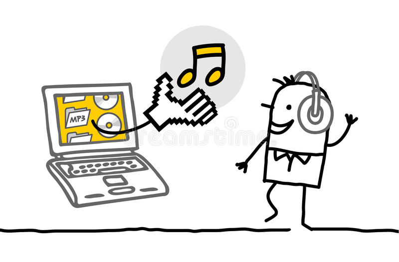 Homme avec la musique de écoute d'ordinateur portatif illustration de vecteur