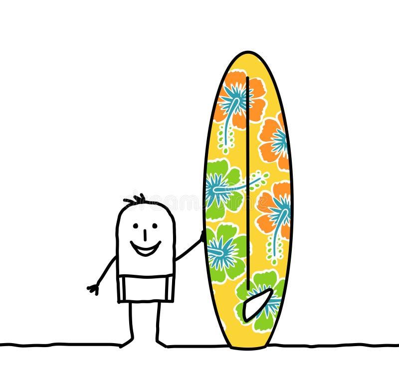 homme avec la planche de surfing modelée illustration stock