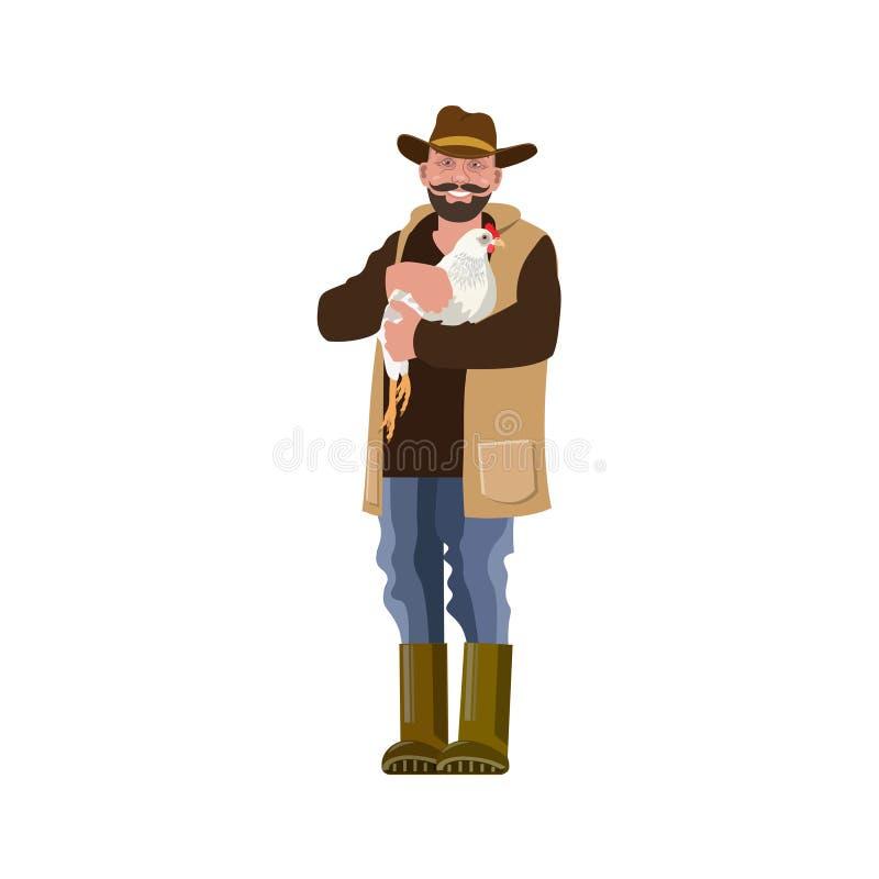 Homme avec la poule illustration de vecteur