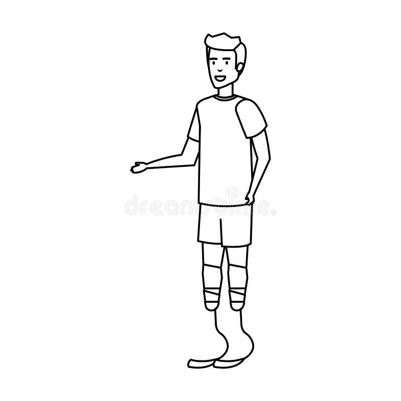 Homme avec la prothèse de pied illustration libre de droits