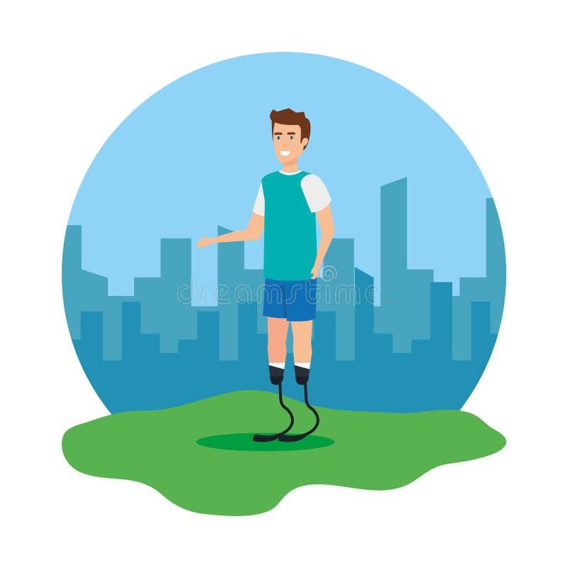 Homme avec la prothèse de pied illustration de vecteur