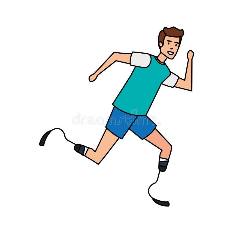 Homme avec la prothèse de pied illustration stock