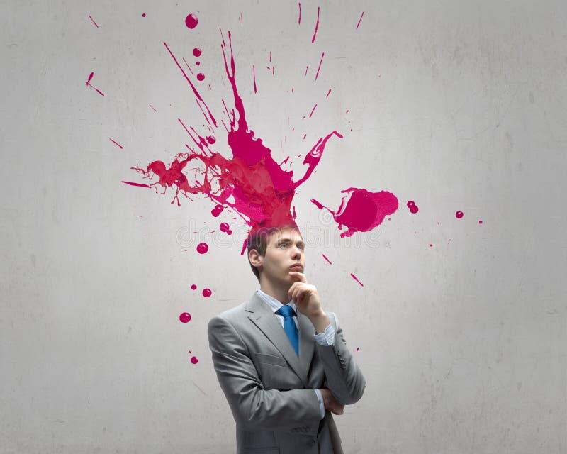 Download Homme avec la tête colorée image stock. Image du intelligent - 56480225