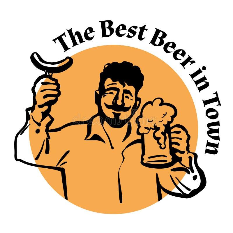 Homme avec la tasse et la saucisse de bière Twxt la meilleure bière en ville Vecteur illustration libre de droits