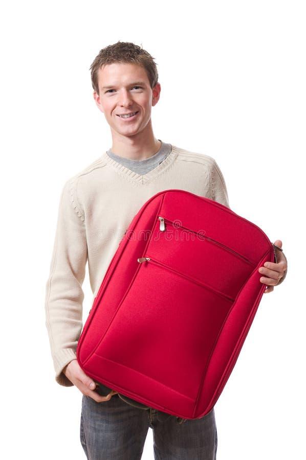 Homme avec la valise image stock