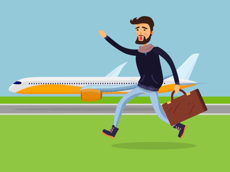 Homme avec la valise fonctionnant à l'avion de passagers illustration de vecteur