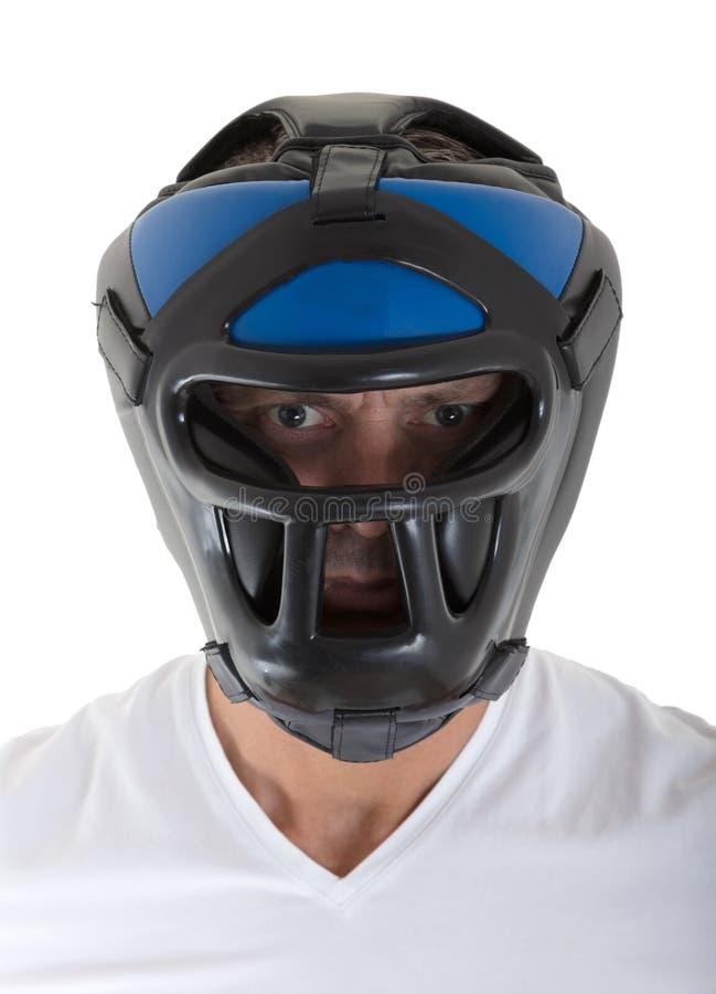 Homme avec la vitesse de tête de boxe image stock
