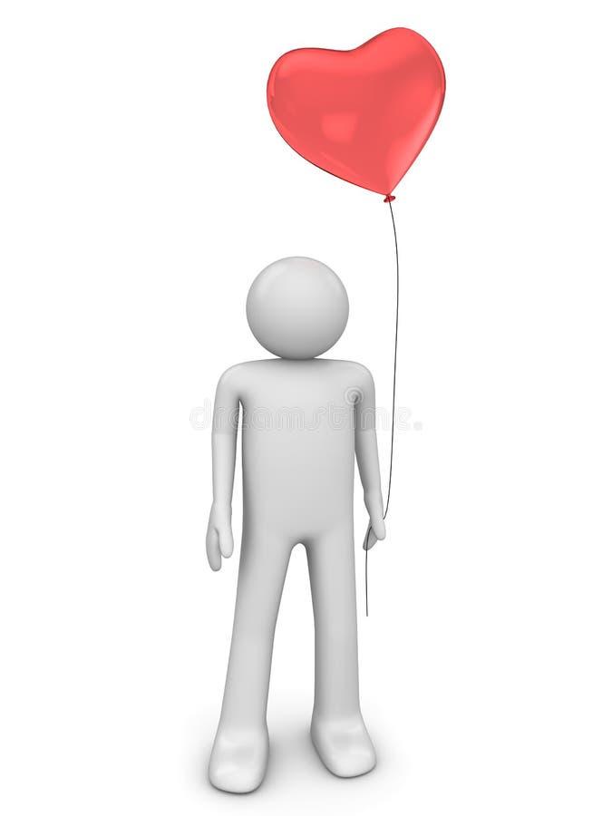 Homme avec le baloon d'amour photo stock