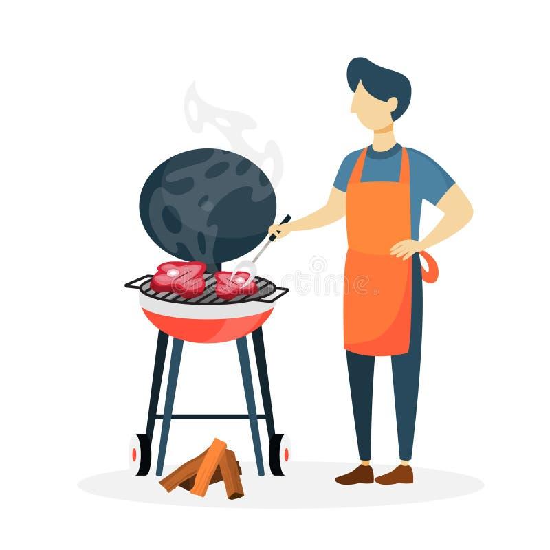 Homme avec le BBQ illustration libre de droits